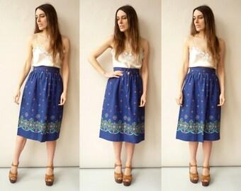 Vintage 1970's Blue Floral Pattern Midi Skirt Size XS