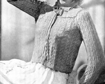 Munrospun 3638 Lace Bed Jacket Cardigan 38 Bust Ladies Vintage 1940s Knitting Pattern