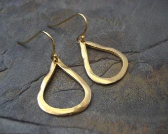 Teardrop earrings, pear shape earrings, gold dangle earrings, odd shape, everyday earrings