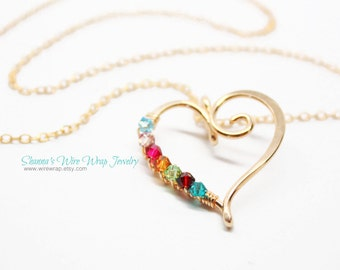 Mothers Necklace with Optional Custom Child Birthstones, Sterling Silver or Yellow Gold Filled