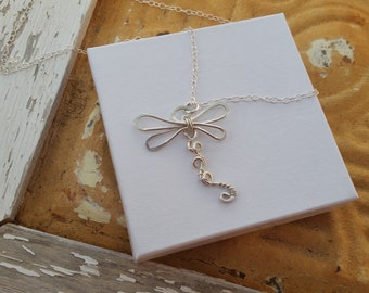 Dragonfly Pendant, Dolid Sterling Silver Dragonfly Necklace