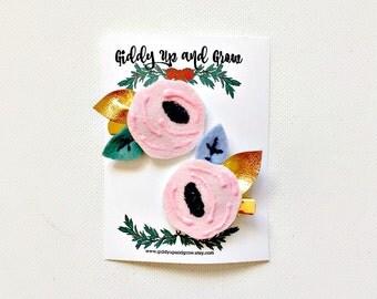 Felt Hair Clip Set, Felt Bows, Hair Flowers in Pink, Alice in Wonderland, giddyupandgrow