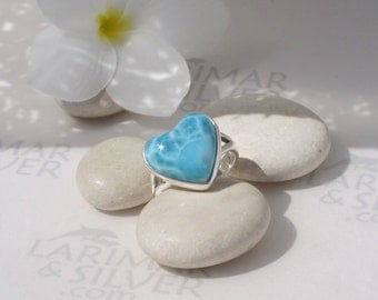 Larimar ring, Caribbean Passion  cerulean Larimar heart, blue heart, turquoise blue, azure, volcanic blue, sea of love, handmade ring size 7