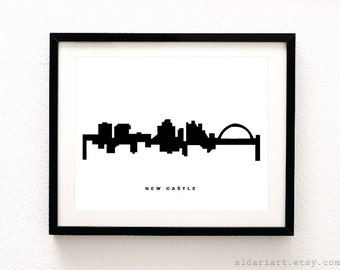 New Castle Skyline Print - New Castle Cityscape Print - New Castle Australia Wall Art - New Castle Wall Art - Modern Decor - Aldari Art