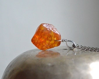 Fiery Amber pendant - Orange gold Baltic Amber on Gunmetal chain Baltic amber Tribal Unisex pendant Large genuine polished Amber necklace