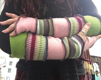 Gypsy Dreaming Arm Warmers, fingerless gloves, festival, hippie, boho, pixie,  recycled, upcycled,