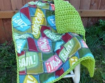 Superhero baby boy blanket crochet blanket flannel blanket  green baby boy blanket crochet baby boy blanket superhero baby blanket