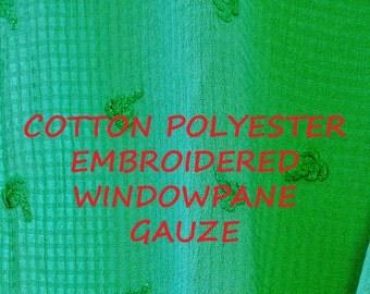 1 YARD, Caribbean Green, Windowpane Gauze, Embroidered Palm Trees, Home Decor or Fashion Fabric, Lightweight, Cotton Polyester, B6