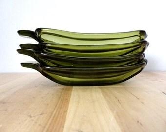 4 Deep Green Glass Banana Boats for Ice Cream Sundaes