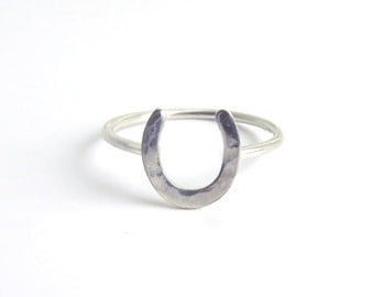 Horseshoe Ring, Lucky Horseshoe, Luck Ring, Silver ring, Stacking ring, Goodluck Ring, Equestrian ring, everyday ring, silver stacking