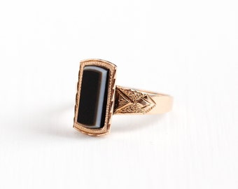 Sale - Antique Victorian 10k Rose Gold Banded Sardonyx Ring - Late 1800s Size 7 1/2 Brown, Black, White Chalcedony Gem Fine Jewelry