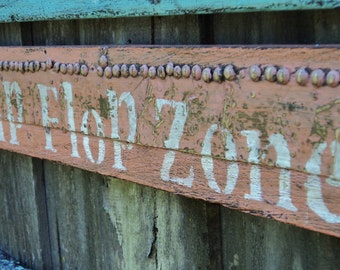 Flip Flop Zone Sign, Antique Wood, Beach House, Wall Hanging, Weathered