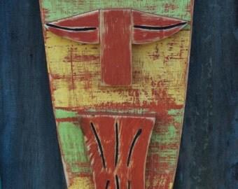 ZEN, Tiki Mask, Tiki Man, Primitive Wall Hanging, Wood Sculpture, Rustic Beach House