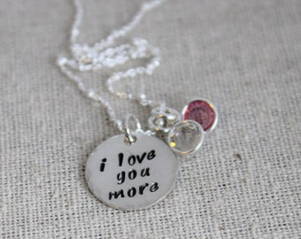 i love you more birthstone necklace | sterling silver mothers necklace | mother and daughter gift set | stocking stuffer | gift for her