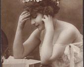 Superb Agelou Portrait, French Postcard, circa 1910s