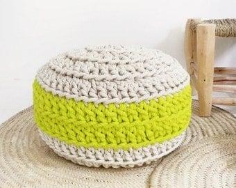 Pouf Crochet -  Neon Yellow