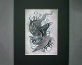 Earth and Freedom Black Cat and Raven Surreal Dark Art Print Black Archival Mat Board 8 X 10
