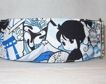Blue Anime Martingale Dog Collar - 1.5 or 2 Inch - Japanese cartoon fighting ninja fun fish