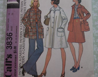 Misses Lined Coat or Jacket with Patch Pockets and Raglan Sleeves Size 14 Bust 36 UNCUT McCalls Pattern 3836 Vintage 1970's