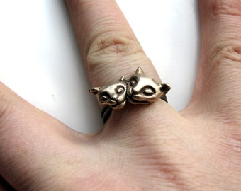 Cat ring bronze and stainless steel