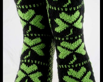 KNITTING PATTERN for Shamrock Socks - Sock pattern - Charted pattern - digital download - Colorwork pattern - St Patrick's Day - Lucky Socks