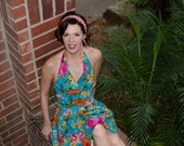 50s style Hawaiian Halter dress / xs floral pinup dress