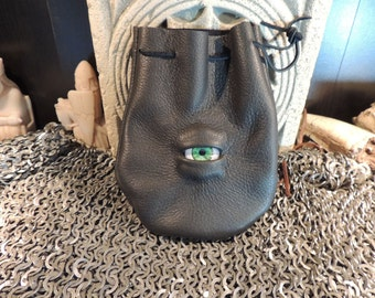 Dragon eye dice bag (Off Black  leather with   Green Human  Eye)----New Style-----