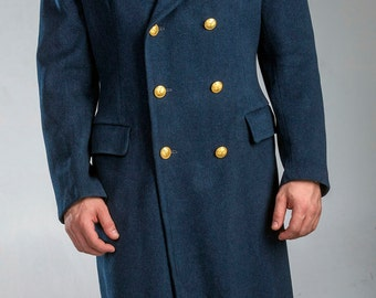 1960's Authentic MILITARY STYLE VINTAGE Italian Air Force Officer's Men's Wool Blue Overcoat/ Greatcoat