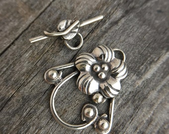 Sterling Silver Toggle Clasp Sterling Silver Flower Clasp Sterling Silver Jewelry Supplies Sterling Silver Jewelry Findings
