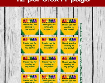 Crayon Party Favor Tags, Crayon Gift Tags, Crayon Favor Tags, Crayon Party, Crayon Birthday,Crayola Party Favor Tags