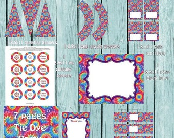 Tie Dye Party Package, Tie Dye Party Printables, Printable Party Supplies, Tie Dye, Tie Dye Party, Tie Dye Birthday, Tie Dye Party, Tie Dye