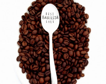 best BARISTA ever hand stamped coffee spoon. The ORIGINAL Hand Stamped Vintage Coffee Spoons™ by Sycamore Hill. Stamped Teaspoon. Espresso.