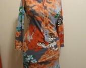 Dress MOD animal 1960s novelty print leopard MOD orange zebra stretch a line L