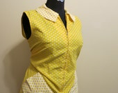 Dress polka dot Peter Pan collar mod yellow 1960s vintage XL