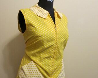 Dress polka dot Peter Pan collar mod yellow 1960s vintage XL