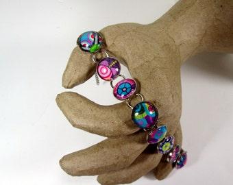 Glass Tile Pop Art Deco Bracelet, Handmade, OOAK