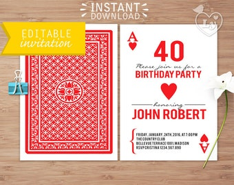 INSTANT DOWNLOAD Casino Party Editable Invitation / Poker Invitation Printable / EDITABLE Casino Invitation / Editable Invitation