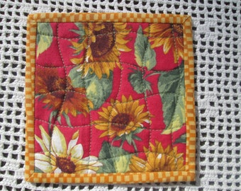 Sunflower Fabric Coasters - Set of 4