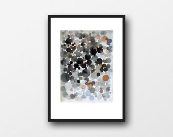 Black watercolor painting black bubbles - abstract watercolor painting watercolor print