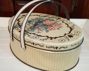 Oval Metal Storage Sewing Button Box Tin - Floral Pattern - Oak Hill Vintage