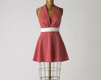 Sexy Womens Apron Red Polka Dot