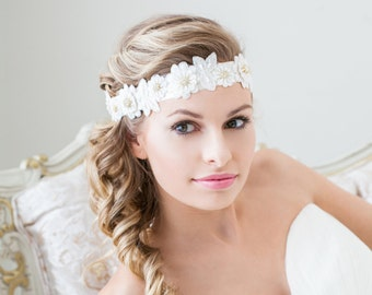Bridal Flower Headband with Gold details - Wedding Headpiece - Bridal Headband - Wedding Hair Accessory