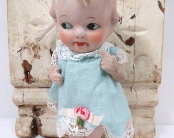 Vintage Blonde Bisque Baby Doll, Nippon, Articulated or Movable Arms, Frozen Charlotte Legs