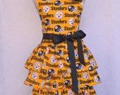 Women's Apron, Pittsburg Steelers, Ruffled Multi Layer Skirt, Steelers Black Rose Pin or Hair-clip