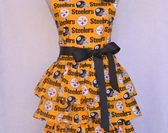 Women's Apron, Pittsburg Steelers, Ruffled Multi Layer Skirt, Steelers Black Rose Pin or Hair-clip