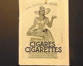 1930s French Cigarette Ad, Art Deco France Etrennes 1937, 1930s Paper Ephemera L'Illustration