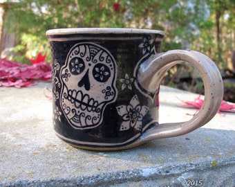 Sugar Skull - stoneware mug