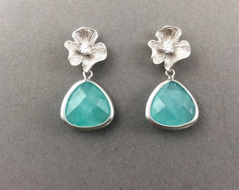 Pearl Earrings With Matte Silver Flower And Mint Jade Faceted Glass Drops