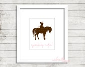 Girl Riding Pony Giddy Up Print 8x10, Digital Print Digital Nursery Art Girl, Nursery Art, Digital Wall Art, Digital Wall Pictures