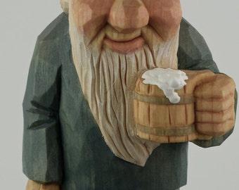 gnome elf wood carving hiker backpack beer mug